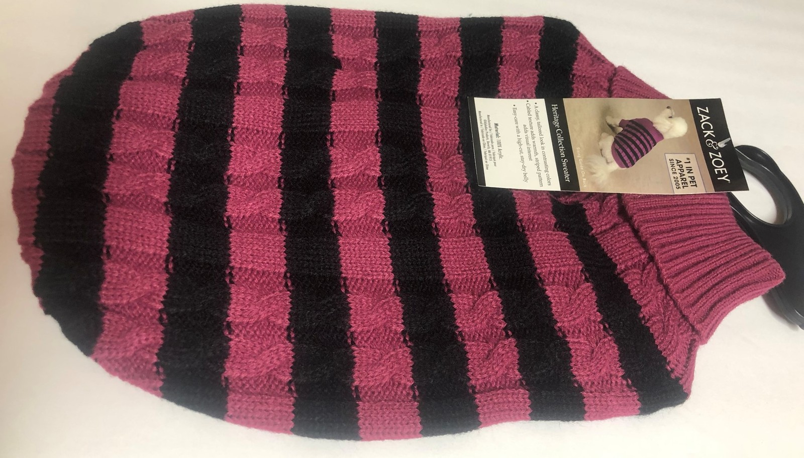 Zack & Zoey Dog Sweater Striped Fuschia Sz S or Blue XL Heritage Collection image 3