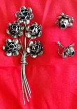 Vintage 1940' Sterling Silver Rose Brooch and Earrings by Coro- Craft - $49.99