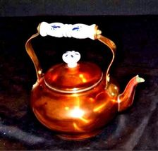 Teapot with White Glass Handle w/Blue Flowers and Lid AA18 - 1033 Brass image 3