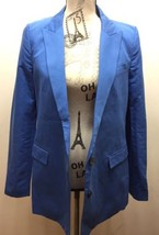 Zara Women Blue Long Blazer 2 Buttons Lined XS Made In Spain Cotton - $37.22