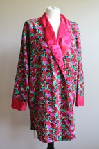 Vtg Victoria's Secret M Satin Red Floral Button-Front Robe Night Shirt G... - $34.20