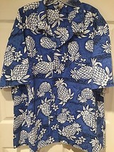 EUC Royal Creations Hawaiian Shirt Cruise BLUE WHITE Pineapple  XXXL  Ha... - $25.19
