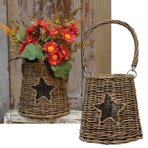 Glass/Willow Star Basket floral candle gifting - $36.11