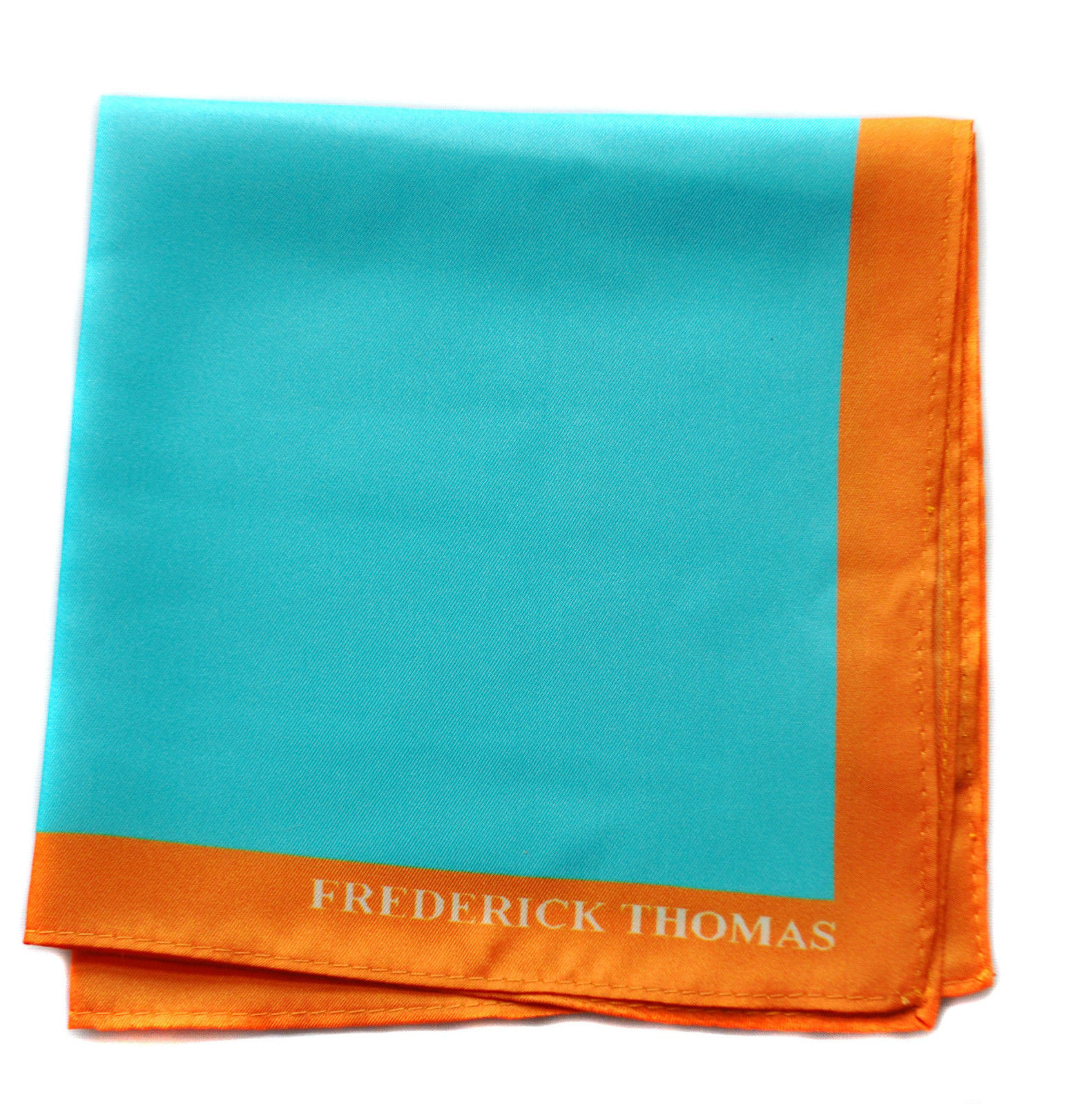 Frederick Thomas turquoise pocket square with orange edging handkerchief FT1662
