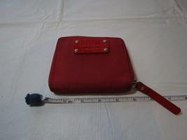 Kate Spade red wallet coin purse credit card organizer mini New York gol... - $33.25