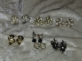 Lot of vintage clip on earrings Signed SAC Sarah Covnetry leaf rhineston... - $18.00
