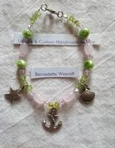 Starfish shell anchor pink green pearl peridot glass handmade bracelet - $7.44