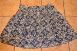 Ann Taylor Loft Blue J EAN Chambray Denim Floral Pleat Full Skirt A-LINE 10 L Eu - $18.00