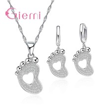 Lovely Feet Crystal Bridal Jewelry Sets Popular S90 Filled Necklace Pend... - $10.64