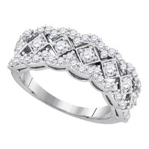 14kt White Gold Womens Round Diamond Diagonal Square Band Ring 1.00 Cttw - £617.61 GBP
