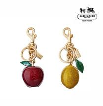 NWT COACH Apple Lemon Bag Charm Key Chain Glitter Yellow Red Gold Doglea... - $65.34