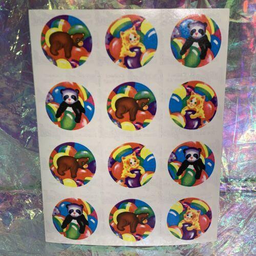 Vintage Lisa Frank Complete S106 Sticker Sheet Bears Rainbow 12 Sticker Mods