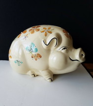Pottery Piggy Bank Smiling Sitting Handpainted Blue Gold Floral Stopper ... - $39.95