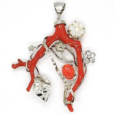 SILVER 925 PENDANT CAMEO CAMEO, BRANCH OF RED CORAL, FLOWERS, LEAF