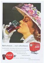 1949 Coca Cola Dispenser & lady with fancy flower Hat vintage Print Ad - $9.99
