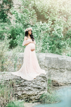 Maternity Photography Pregnancy Dress For Photo Shoot Lace Maxi Gown bab... - $48.90