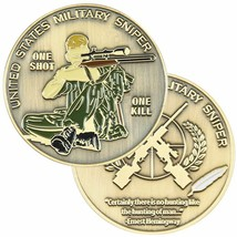"ARMY MARINE CORPS MILITARY SNIPER ONE SHOT ONE KILL 1.75""  CHALLENGE COIN - $17.09"