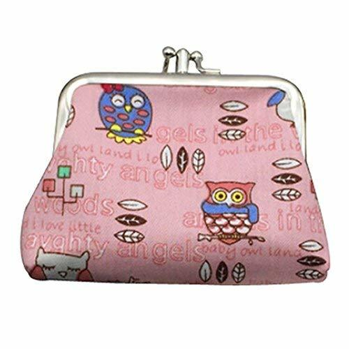 PANDA SUPERSTORE Multilayer Cartoon Pattern Pink Canvas Change Purse Keys Pocket - $16.99