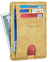 NAPAWALLI RFID BLOCKING MINIMALIST SLIM WALLET GENIUNE LEATHER YELLOW - $8.86