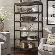 ModHaus Living Industrial Rustic Style Black Metal Frame 6 Tier 40 inche... - $410.85