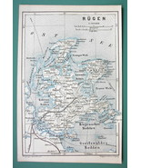 1884 MAP Baedeker - GERMANY Island of Rugen - $5.40