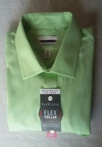 VAN HEUSEN LUX SATEEN $50 Green Long Sleeve Dress Shirt 17.5 36/37 REGUL... - $18.69
