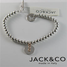 SILVER 925 BRACELET JACK&CO WITH BEADS SHINY AND PENDANT GOLD PINK 9 CARATS image 4