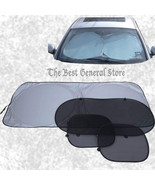 Standard 4pc Auto Car Window Windshield Sun Shade Set Roll Up Side Rear ... - $13.99