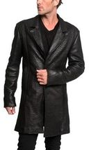 Leather Texture Genuine 100% Pure Leather Log Sleeve  Men Leather Trench Log Coa