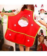 Chistmas Holiday Kitchen Apron with 3 Pockets And Extra Long Ties For Co... - $13.99