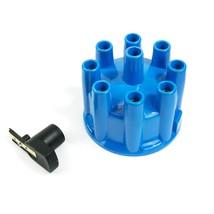 8-Cylinder Pro Billet & R2R Distributor Cap & Rotor Kit Female Cap Blue image 1