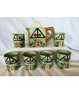 VTG Cottage Windmill House Juicer Reamer w/6 Glasses, Majolica Style 193... - $79.20