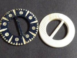 Lot of 2 vintage carved bakelite belt buckles  Black & White - $44.55
