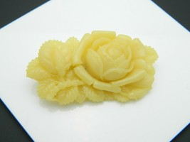 Japan Beige Celluloid Molded Carved Flower Vintage Pin Brooch - $24.74