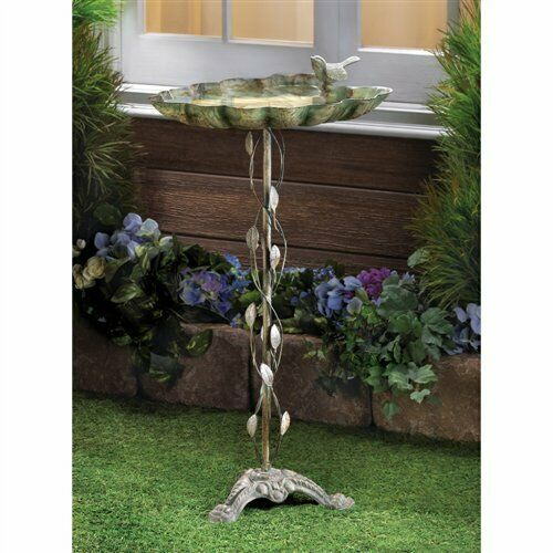 Verdigris Green Leaf Cast & Wrought Iron Bird Bath