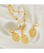 Anniyo Guam Flag Pendant Necklaces Earrings sets for Women Gold Color Ch... - $29.88
