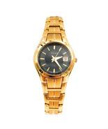 Pulsar Basic Dress Gold Plated Black Dial Quartz Ladies Watch PXT838 - $51.30