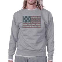50 States Us Flag Unisex Grey Sweatshirt Crewneck Pullover Fleece - $20.99+