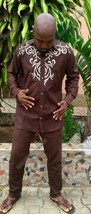 Odeneho Wear Men's Brown  Top And Bottom/ Embroidery. African Clothing. Size XL - $118.80