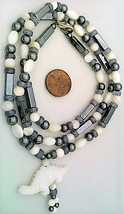 Mother Of Pearl Hematite Gemstone Necklace - $27.24
