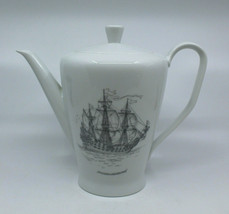 Rosenthal Germany Bettina White Coffee Tea Pot Wappen Von Hamberg Ship Vintage - $87.56