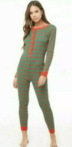 Women M Red & Green Striped Pajama Thermal One Piece bodysuit jumpsuit L... - $16.53
