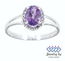 Amethyst Birthstone 14K White Gold 0.45CT Real Natural Halo Diamond Ring - $198.34