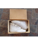 Vintage Antique Baby Booties White Leather Shoes Lace Up Laced Doll Shoe... - $31.00