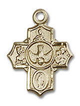 14K Gold 5-Way Medal 1/2 x 3/8 inch - $211.01