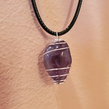 """Amethyst Necklace, Polished Stone Silver Wire Wrap Pendant, 18"""", Purple crystal"""
