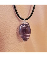 """Amethyst Necklace, Polished Stone Silver Wire Wrap Pendant, 18"""", Purple ... - $14.99"""