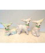 Christmas Ceramic Lambs White Pink Bells Tree Decoration Reindeer Deer S... - $12.99