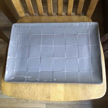 """PIER 1 CUBIC STONEWARE 16"""" Brown Gray Serving PLATTER Block Style Tray Rare - $29.70"""