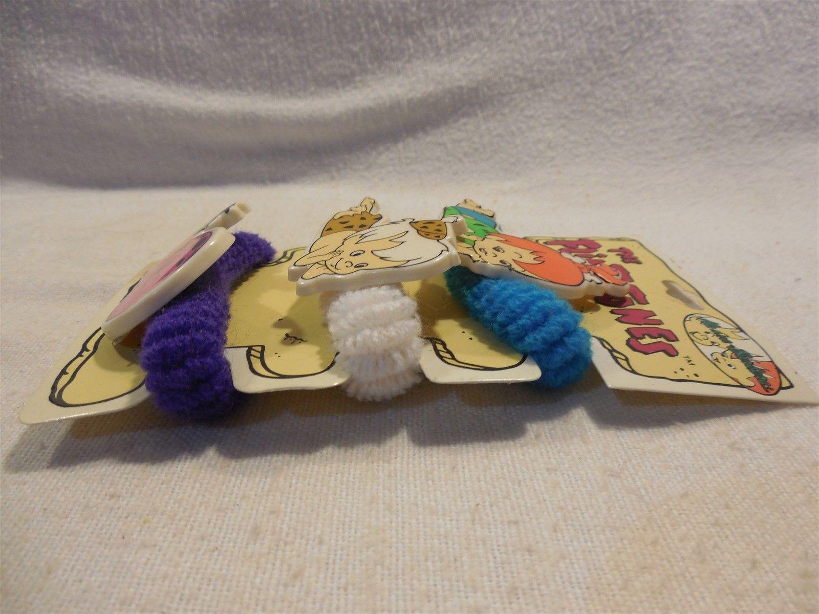 Flintstones 1994 Art Craft Hair Ties w/Plastic Pebbles, Bamm-Bamm & Dino MOC